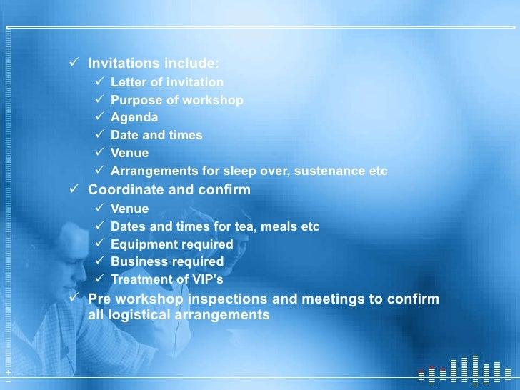 <ul><li>Invitations include: </li></ul><ul><ul><li>Letter of invitation </li></ul></ul><ul><ul><li>Purpose of workshop </l...