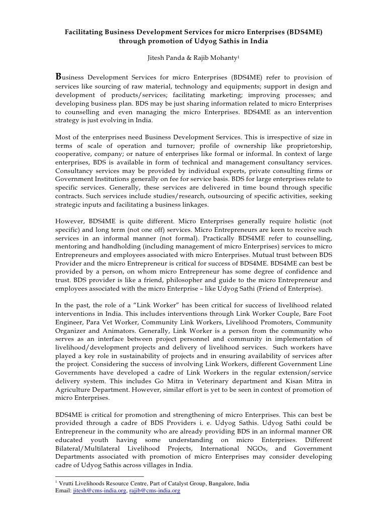 Facilitating Business Development Services for micro Enterprises (BDS4ME)                      through promotion of Udyog ...
