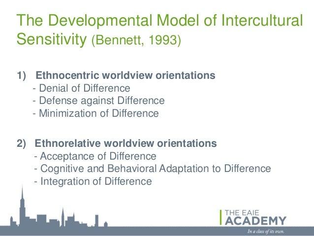 The Developmental Model of InterculturalSensitivity (Bennett, 1993)1) Ethnocentric worldview orientations   - Denial of Di...