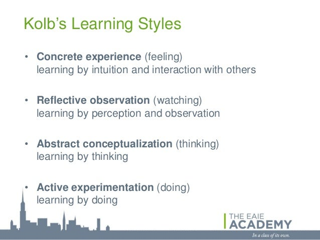 Kolb's Learning Styles• Concrete experience (feeling)  learning by intuition and interaction with others• Reflective obser...