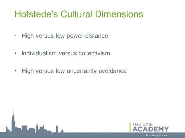 Hofstede's Cultural Dimensions• High versus low power distance• Individualism versus collectivism• High versus low uncerta...