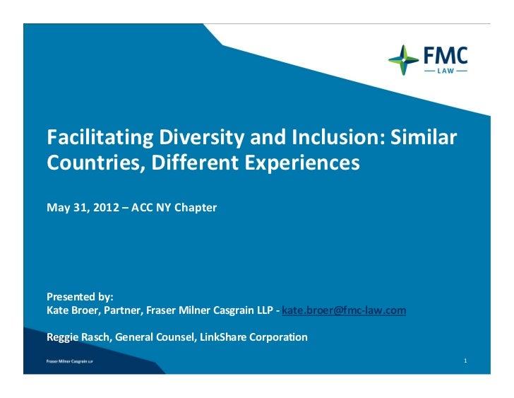 FacilitatingDiversityandInclusion:SimilarCountries,DifferentExperiencesMay31,2012– ACCNYChapterPresentedby:...