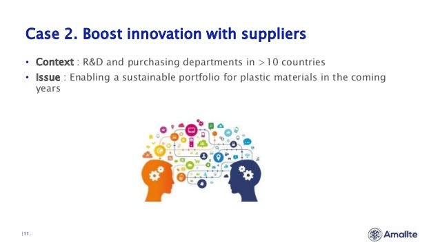 Case 2. Boost innovation with suppliers  11. • Context : R&D and purchasing departments in >10 countries • Issue : Enablin...