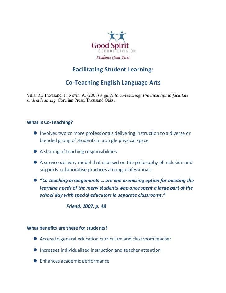 Facilitating Student Learning:<br />Co-Teaching English Language Arts<br />Villa, R., Thousand, J., Nevin, A. (2008) A gui...