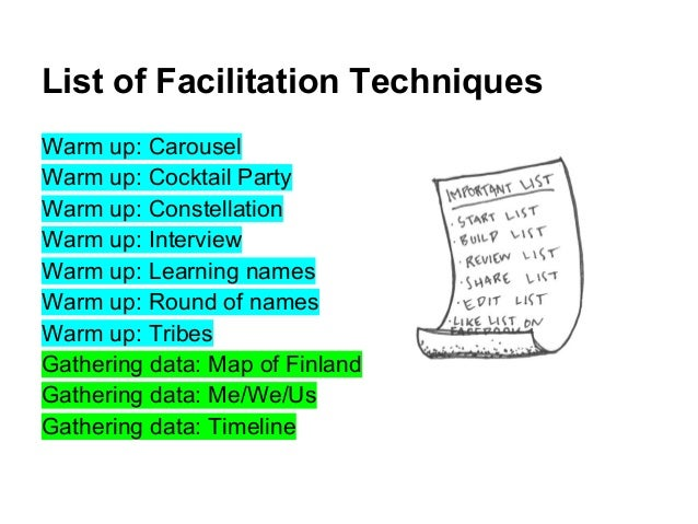 List of Facilitation TechniquesWarm up: CarouselWarm up: Cocktail PartyWarm up: ConstellationWarm up: InterviewWarm up: Le...