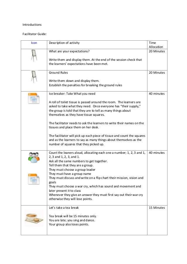facilitator guide for a business administration session rh slideshare net Creating Facilitator Guides Facilitator Guide Layout