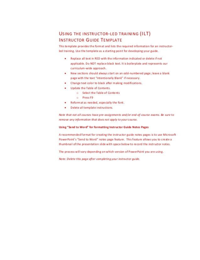 training guide template word