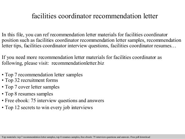 Facilities Coordinator Recommendation Letter In This File You Can Ref Materials For