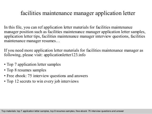 Facilities Maintenance Manager Application Letter In This File You Can Ref Materials For