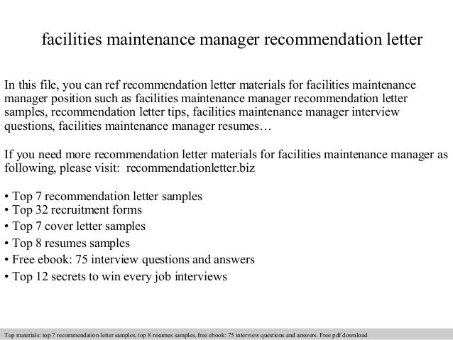 Facilities Maintenance Manager Recommendation Letter In This File, You Can  Ref Recommendation Letter Materials For ...