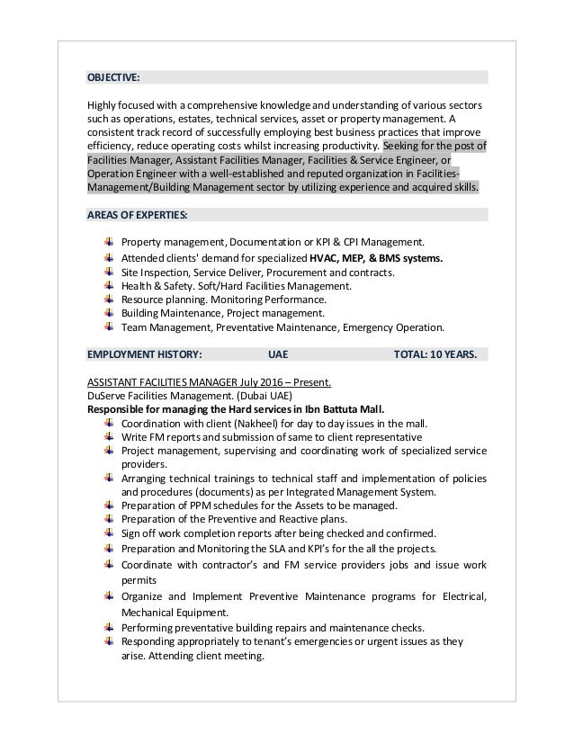 facilities maintenance manager resume