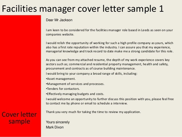 Facility manager cover letter