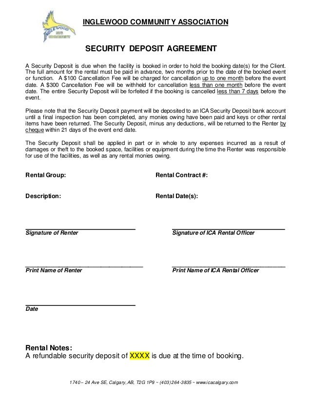 Facilities Rental Agreement Style 173