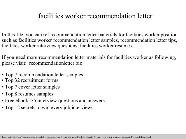 Facilities Worker Recommendation Letter