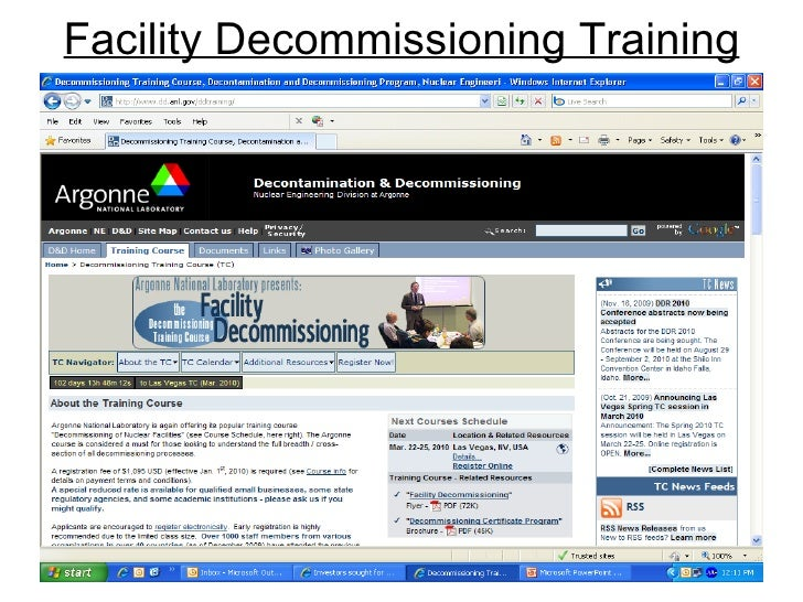 Facility Decommissioning Training