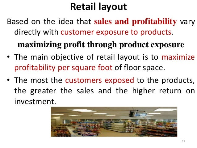 Retail layout  Based on the idea that sales and profitability vary  directly with customer exposure to products.  maximizi...