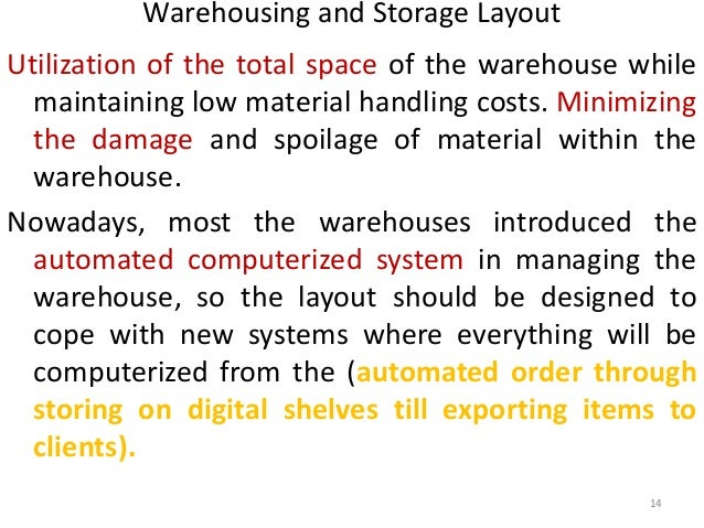 Warehousing and Storage Layout  Utilization of the total space of the warehouse while  maintaining low material handling c...