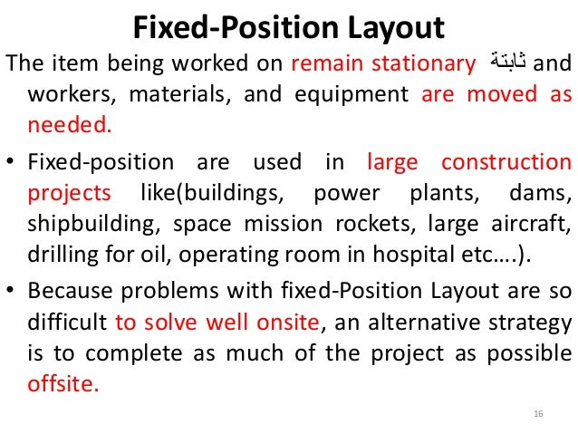 Fixed-Position Layout  The item being worked on remain stationary ثابتة and  workers, materials, and equipment are moved a...