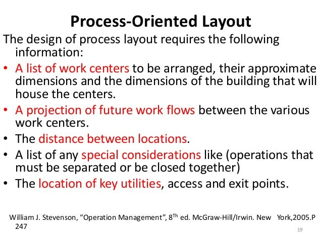 Process-Oriented Layout  The design of process layout requires the following  information:  • A list of work centers to be...