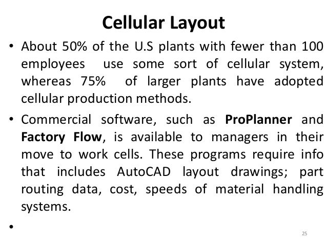 Cellular Layout  • About 50% of the U.S plants with fewer than 100  employees use some sort of cellular system,  whereas 7...
