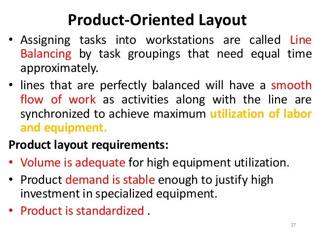 Product-Oriented Layout  • Assigning tasks into workstations are called Line  Balancing by task groupings that need equal ...