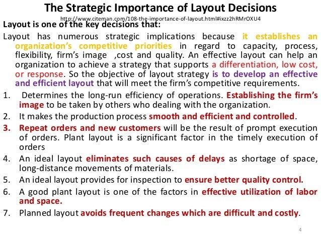 The Strategic Importance of Layout Decisions  http://www.citeman.com/108-the-importance-of-layout.html#ixzz2hRMrOXU4  Layo...