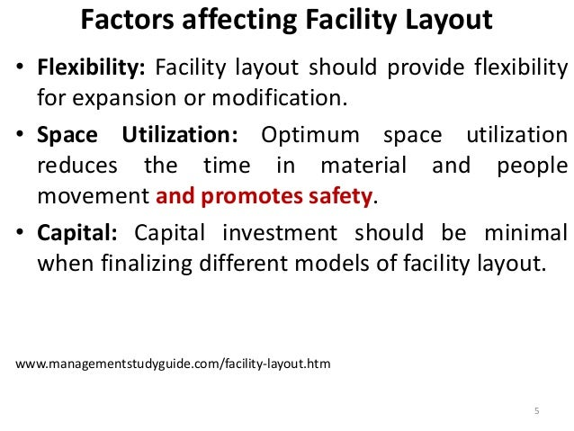 Factors affecting Facility Layout  • Flexibility: Facility layout should provide flexibility  for expansion or modificatio...