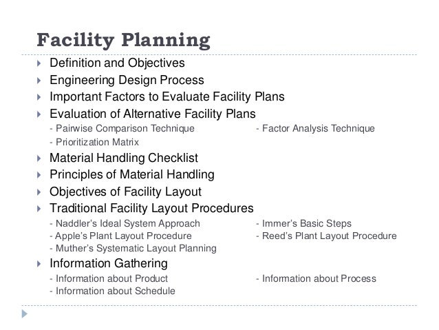 facility planning course