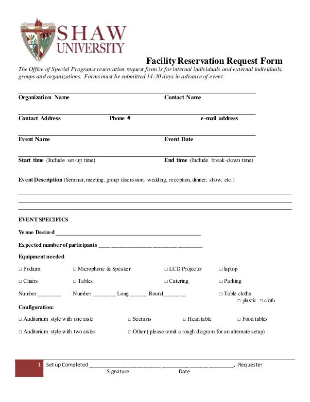 Facility Reservation Request Form
