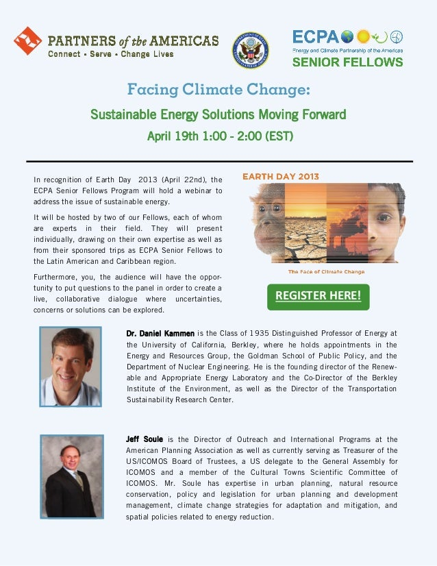 Facing Climate Change:                 Sustainable Energy Solutions Moving Forward                                  April ...
