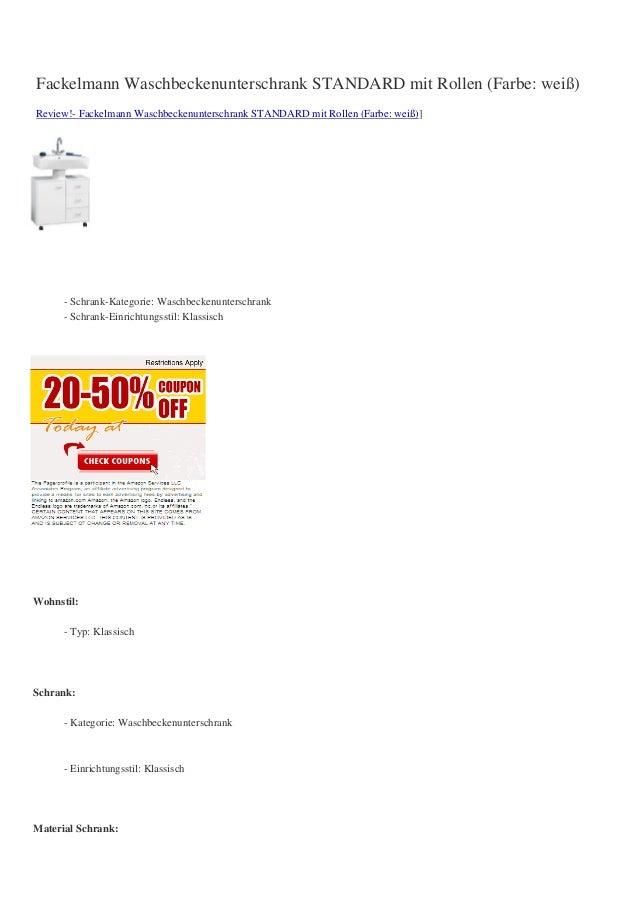 Fackelmann Waschbeckenunterschrank STANDARD mit Rollen (Farbe: weiß)Review!- Fackelmann Waschbeckenunterschrank STANDARD m...
