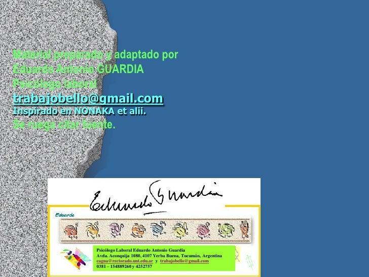 Material preparado y adaptado porEduardo Antonio GUARDIAPsicólogo laboraltrabajobello@gmail.comInspirado en NONAKA et alii...
