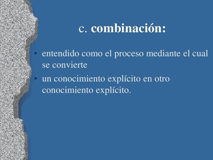 c. combinación:• entendido como el proceso mediante el cual  se convierte• un conocimiento explícito en otro  conocimiento...