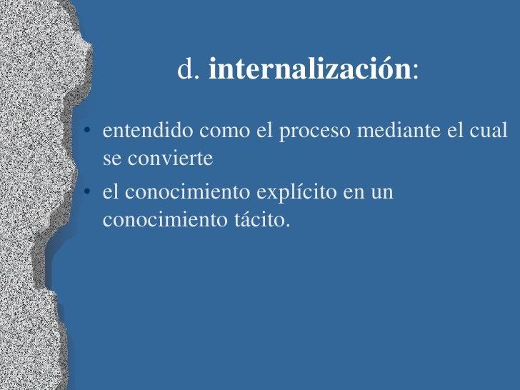 d. internalización:• entendido como el proceso mediante el cual  se convierte• el conocimiento explícito en un  conocimien...