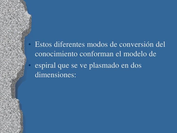 • Estos diferentes modos de conversión del  conocimiento conforman el modelo de• espiral que se ve plasmado en dos  dimens...