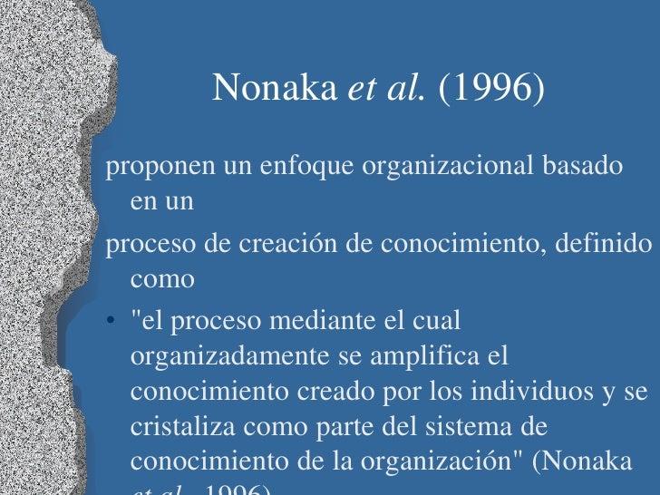 """Nonaka et al. (1996)proponen un enfoque organizacional basado  en unproceso de creación de conocimiento, definido  como• """"..."""
