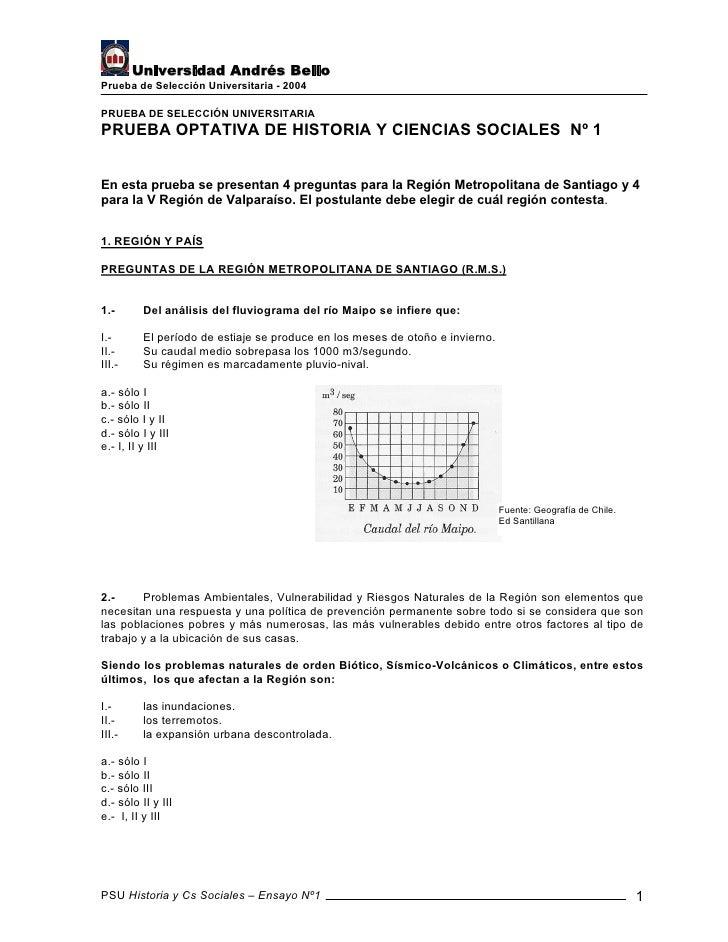 Universidad Andrés Bello Prueba de Selección Universitaria - 2004  PRUEBA DE SELECCIÓN UNIVERSITARIA PRUEBA OPTATIVA DE HI...