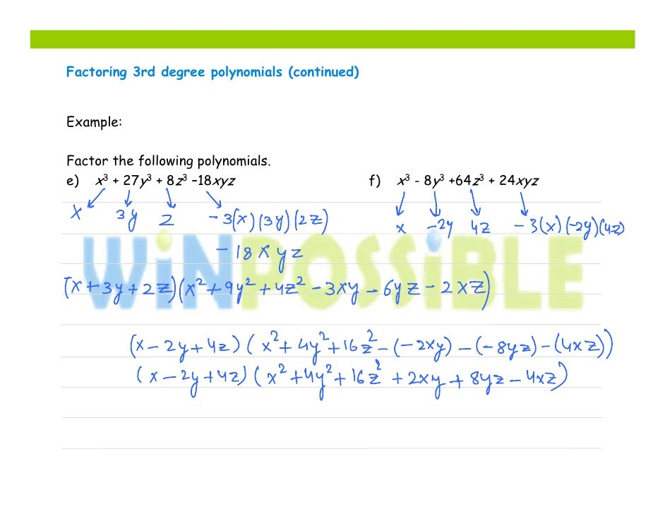 Factoring the third degree polynomial