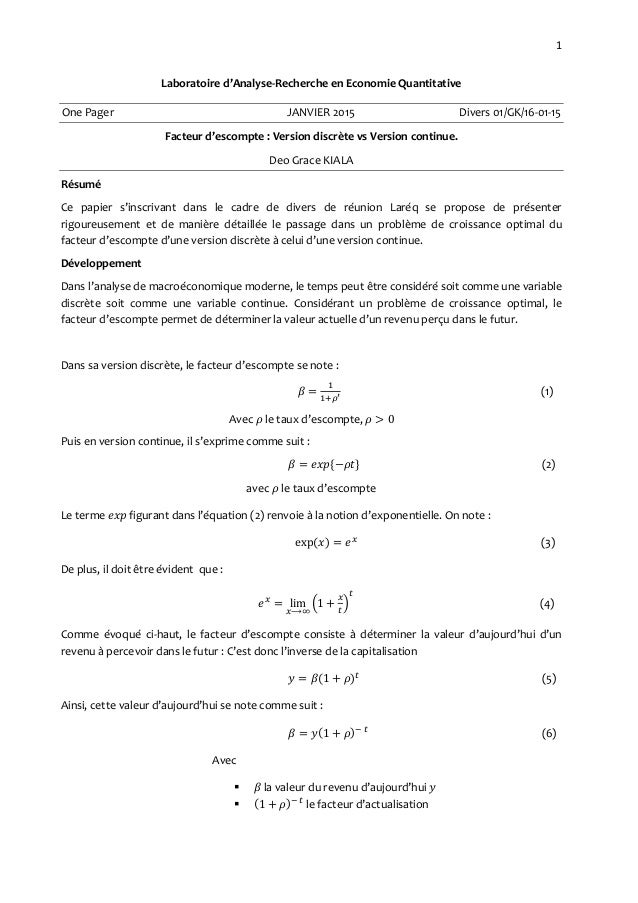 1 Laboratoire d'Analyse-Recherche en Economie Quantitative One Pager JANVIER 2015 Divers 01/GK/16-01-15 Facteur d'escompte...