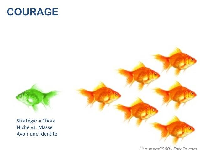 COURAGE Stratégie = Choix  Niche vs. Masse  Avoir une Iden(té