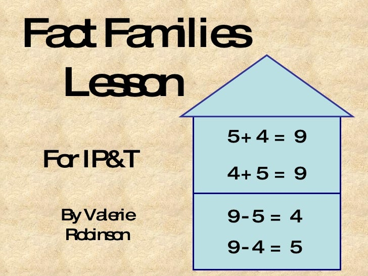 Fact Families    Lesson For IP&T By Valerie Robinson 5 + 4  =  9 4 + 5  =  9 9 - 5  =  4 9 - 4  =  5