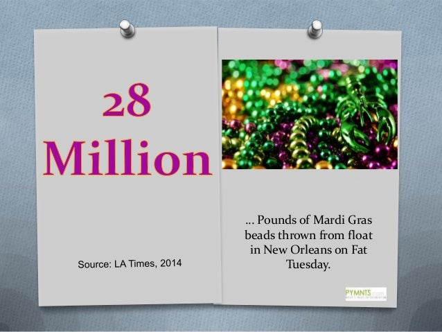 … Pounds of Mardi Gras beads thrown from float in New Orleans on Fat Tuesday.