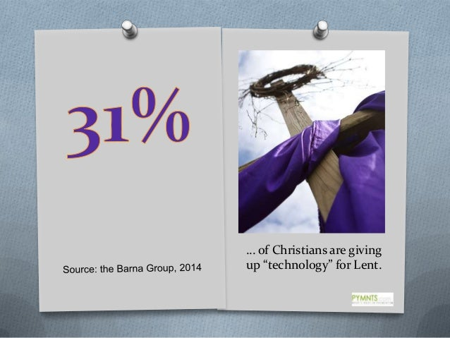 """… of Christians are giving up """"technology"""" for Lent."""