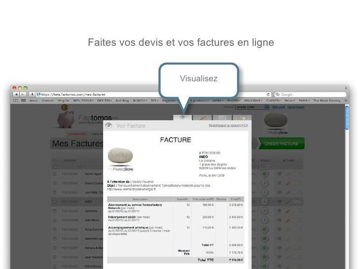 Faites vos devis et vos factures en ligne                      Visualisez