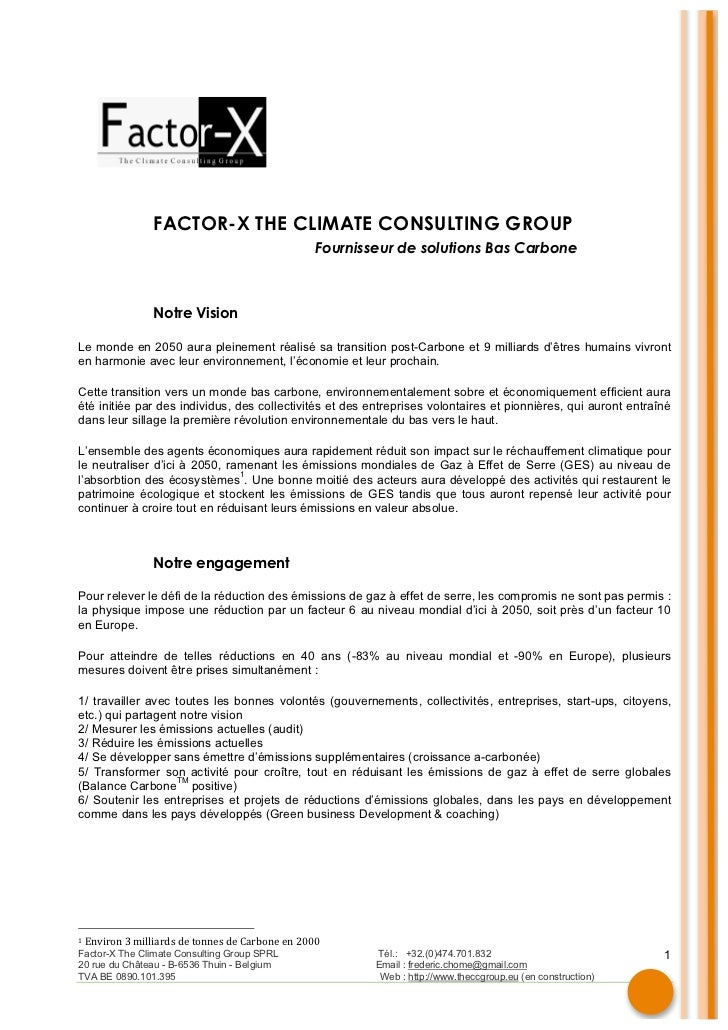 FACTOR-X THE CLIMATE CONSULTING GROUP ...