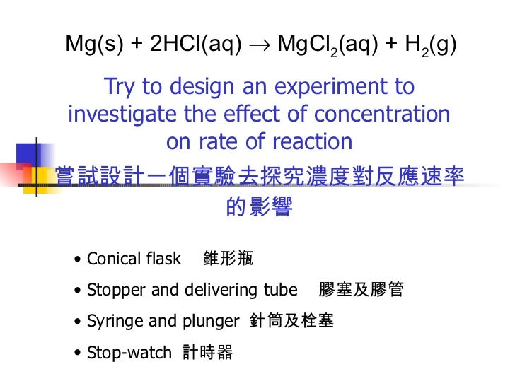 experiment to investigate the effect of concentration on rate of reaction essay Free essay: experiment to investigate factors affecting the rate of reaction  between  what effect will the concentration of hydrochloric acid have on the  rate of.