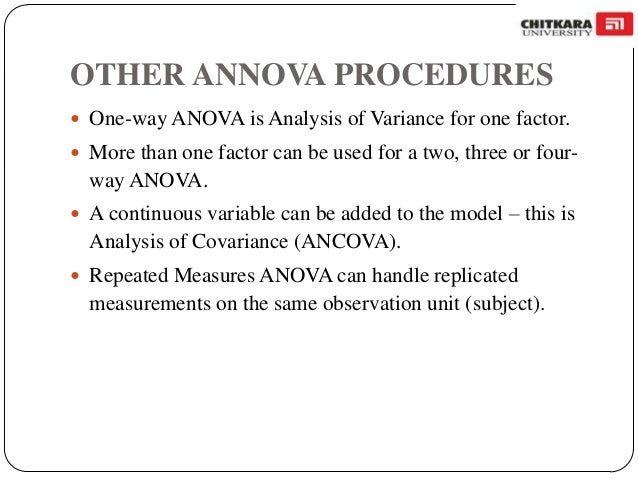 one way annova A one-way analysis of variance is a way to test the equality of three or more means at one time by using variances the null hypothesis will be that all population means are equal, the alternative hypothesis is that at least one mean is different in the following, lower case letters apply to the.