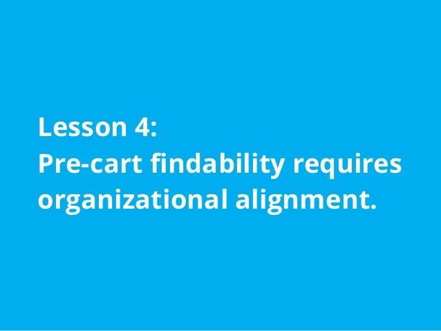 Pre-cart Findability Requires Organizational Alignment Organizational alignment is vital. Experience factors: ● Item grou...
