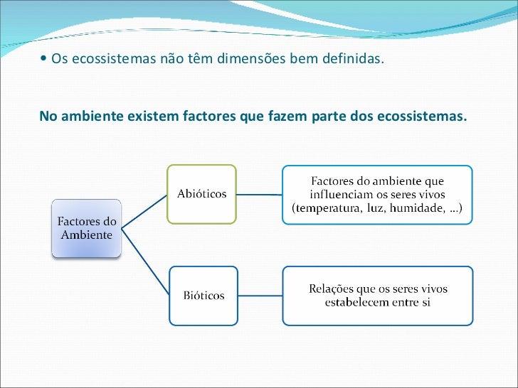 <ul><li>Os ecossistemas não têm dimensões bem definidas. No ambiente existem factores que fazem parte dos ecossistemas. </...