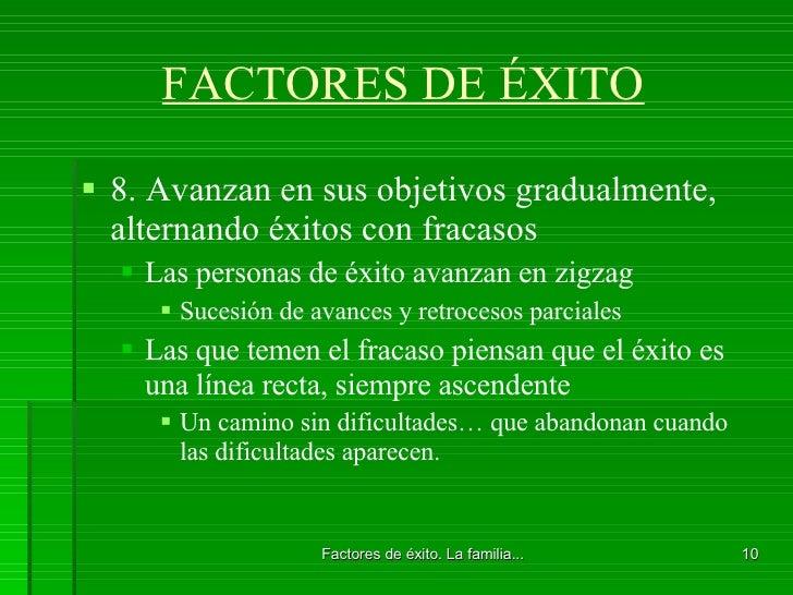 FACTORES DE ÉXITO <ul><li>8. Avanzan en sus objetivos gradualmente, alternando éxitos con fracasos </li></ul><ul><ul><li>L...